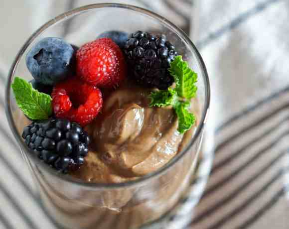 Chocolate Avocado Mousse with Mixed Berries