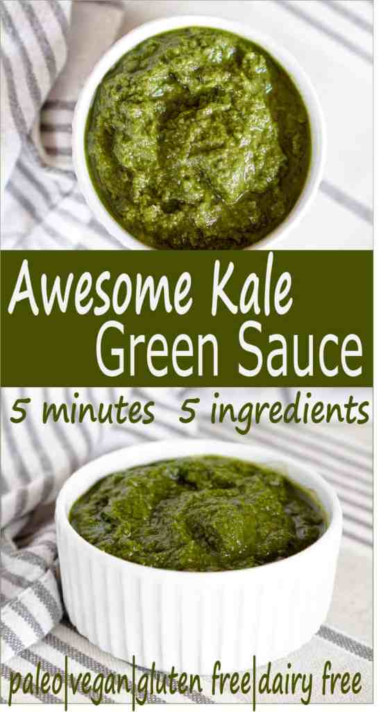 5 minute healthy Kale green sauce recipe - great on everything from pizza to salads