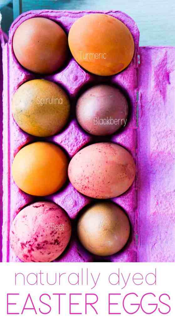 Naturally dyed Easter eggs made with homemade food coloring made from Real Food.