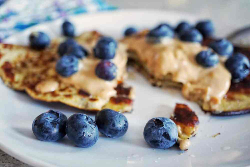 PB&J banana Pancakes in teh perfect Mother's Day Brunch Menu- they are easy to make, have a quick clean up and are healthy, paleo and whole 30 friendly Mother's Day Brunch Menu