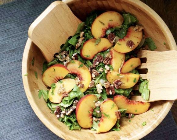Toasted Pecan, Cucumber, Basil, and Peach Salad
