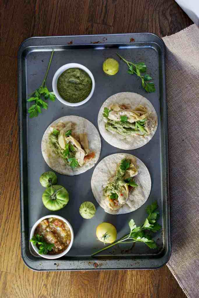homemade salsas and carrot top pesto falvor these vegan artichoke hummus tacos with carrot top pesto