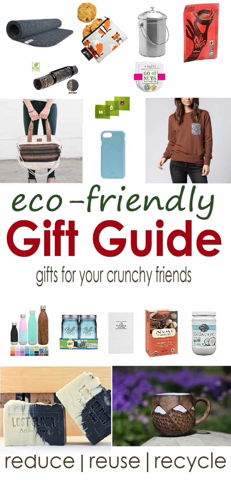 Made for your crunchy friend that's into meditation and saving the earth, these eco friendly gifts are recycled, hand made, and sustainable.
