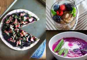 A fresh look on Valentine's day dinner: real food, real delicious and easy to make. You can totally do this! Naturally pink bone broth soup, beet and kale flatbread, and chocoalte avocado mouse with mixed berries