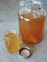Home brewed Jun, a honey and green tea version of kombucha, brew and glass