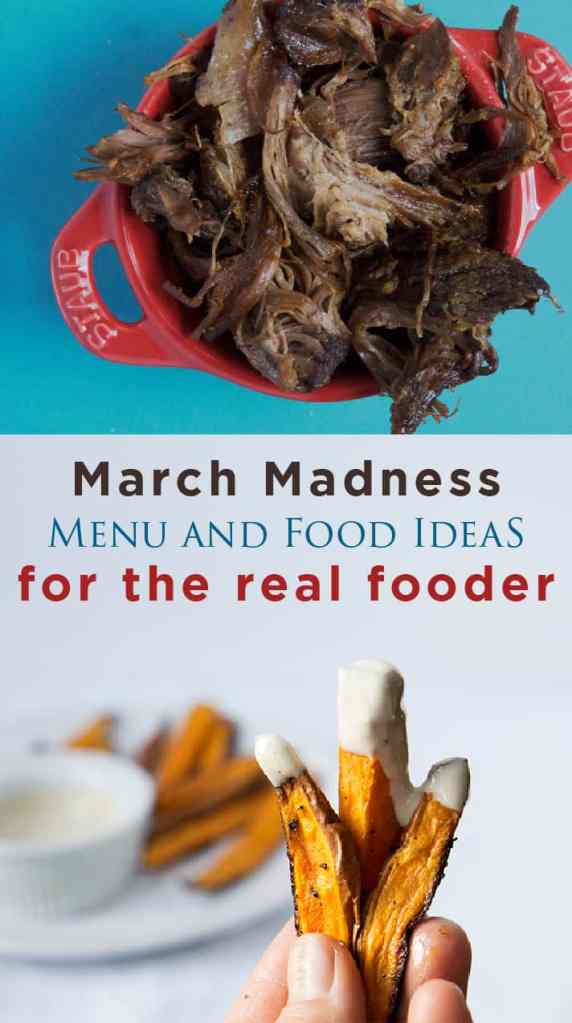 Healthy options that still satisfy those cravings for bar foods when you're watching the final four. Pulled beef, baked wings, sweet potato fries and more! Basketball Party Food Ideas and March Madness Menu