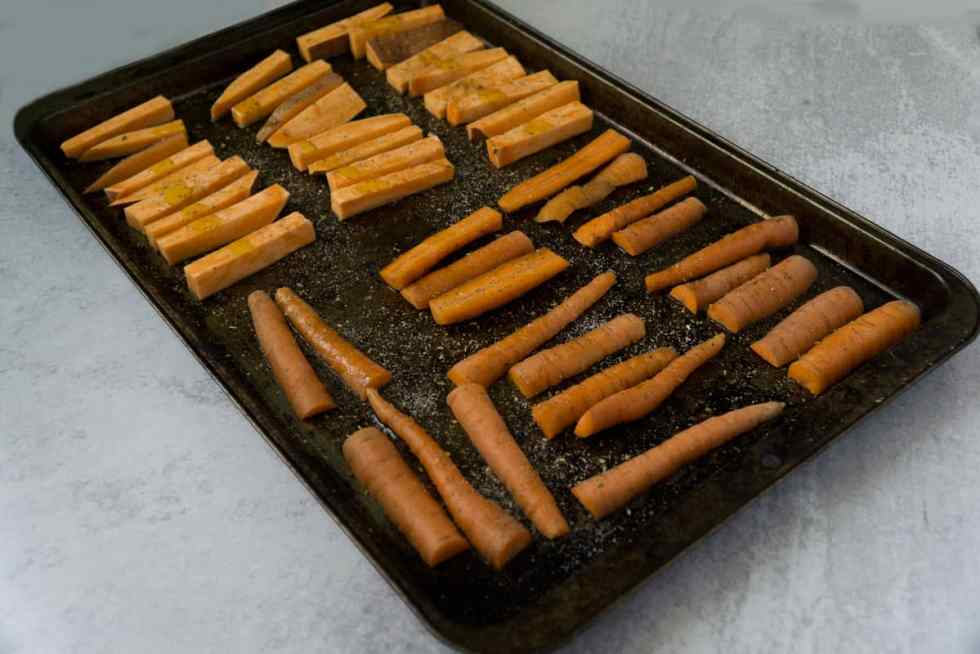 Roasted Carrot Fries for Kale Caesar Salad