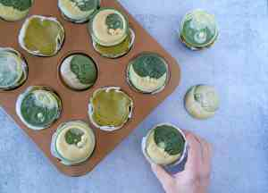 Mini Moringa Cheesecakes with White Chocolate Moons