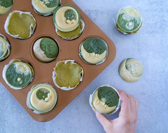 Mini Moringa Cheesecakes with White Chocolate Moons