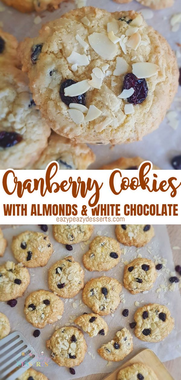 We love all kinds of cookies, and this cranberry cookies recipe with almonds and white chocolate is absolutely delicious! Bonus, they are also super easy to make. via @eazypeazydesserts