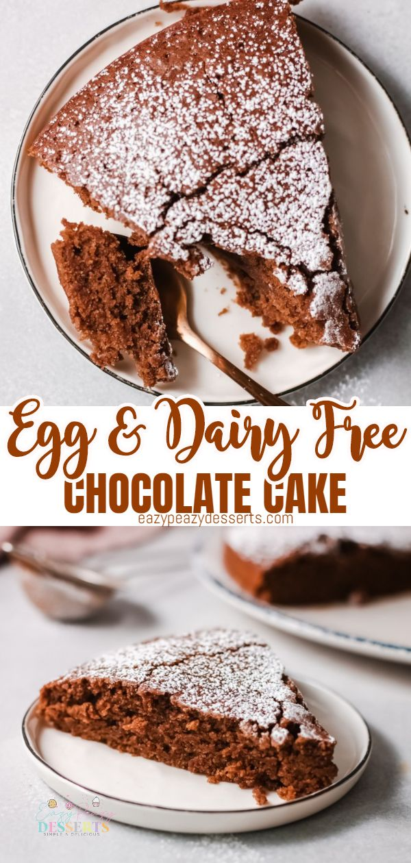 This dairy and egg free cake is incredibly delicious! It's super moist and fluffy and jam packed with chocolate flavor. If you're looking for a decadent and easy to make egg free dairy free chocolate cake, you are in the right place! via @eazypeazydesserts