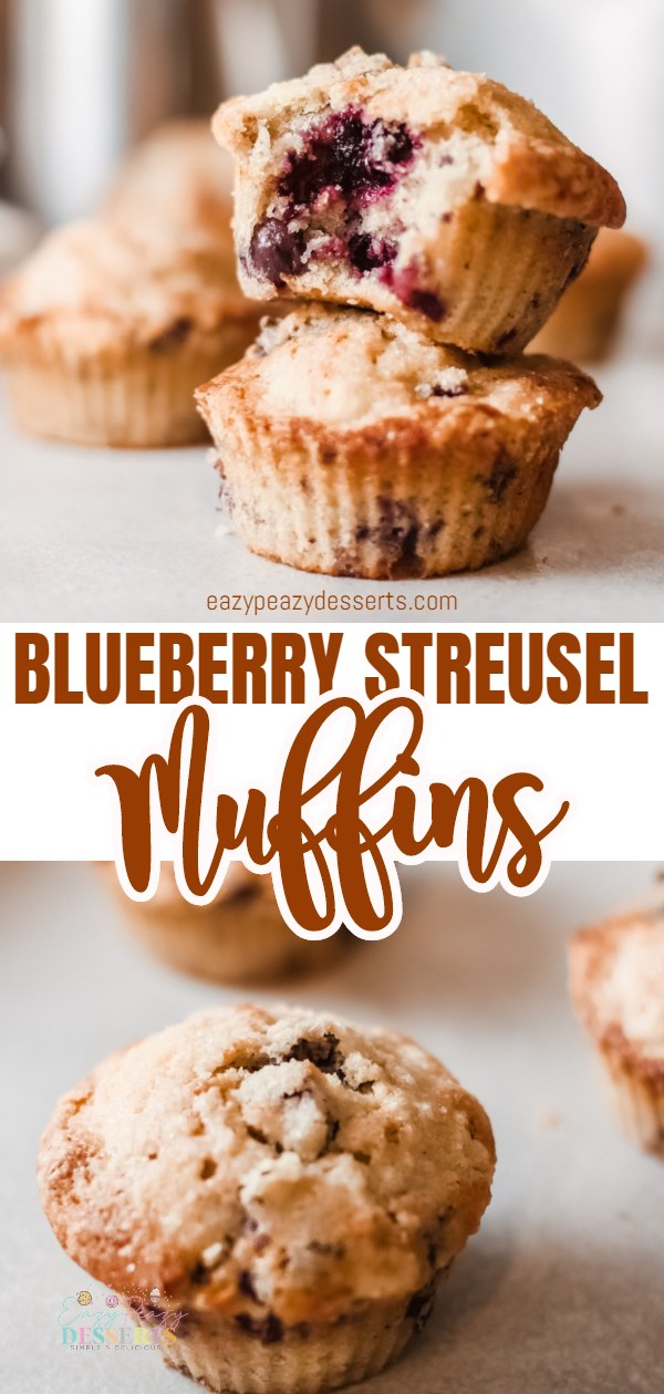 Blueberry streusel muffins are incredibly delicious! An easy recipe that's perfect as a snack or breakfast, these streusel muffins are moist, fluffy and bursting with blueberries! via @eazypeazydesserts
