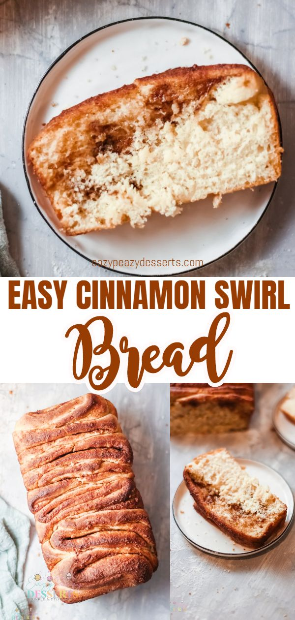 This cinnamon swirl bread is warm and gooey! Totally stuffed with ribbons of butter, sugar and cinnamon and baked until deep golden brown this swirl bread is soft and fluffy and incredibly delicious! via @eazypeazydesserts