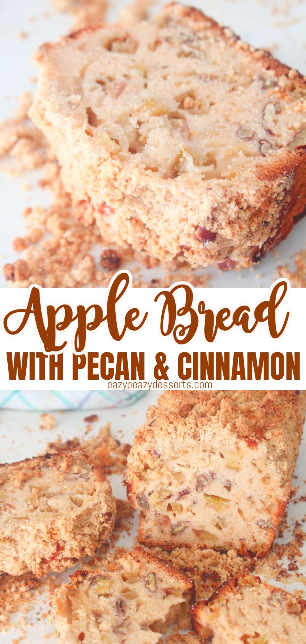 The apple cinnamon bread with pecans and crumbs is great to bake on a weekend morning and enjoy with a delicious cup of coffee or hot chocolate! Your house will be filled with the amazing apple and cinnamon smell everyone loves! Today I'm going to show you the super easy way of making apple bread! via @eazypeazydesserts