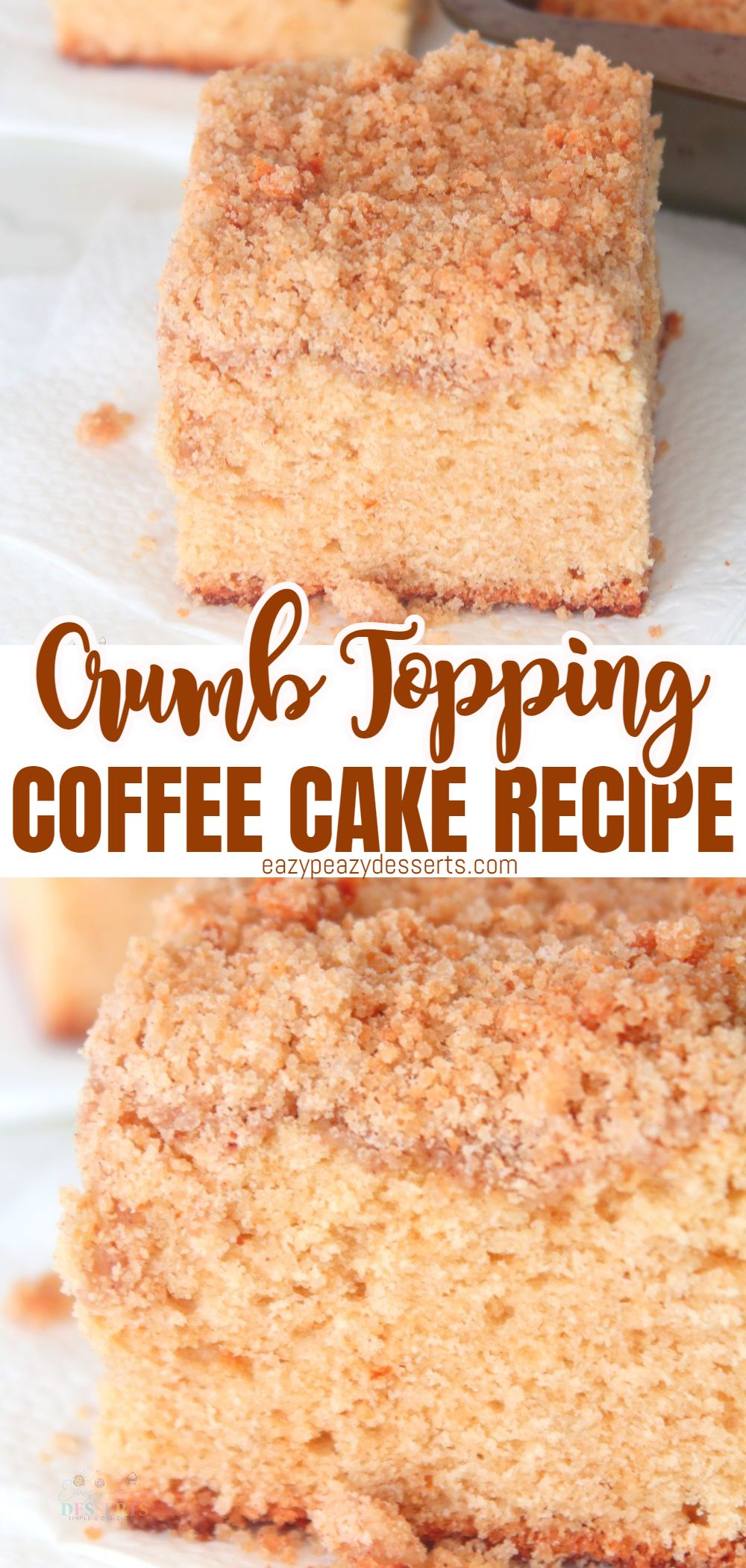 Coffee goes great with a delicious crumb cake. If you're like me, you probably eat the crumb topping first, or choose a piece with the most crumbs on. Today, I'm going to show you how to make a super delicious and easy crumb coffee cake! It's moist, soft, tender and packed with crumbs! via @eazypeazydesserts