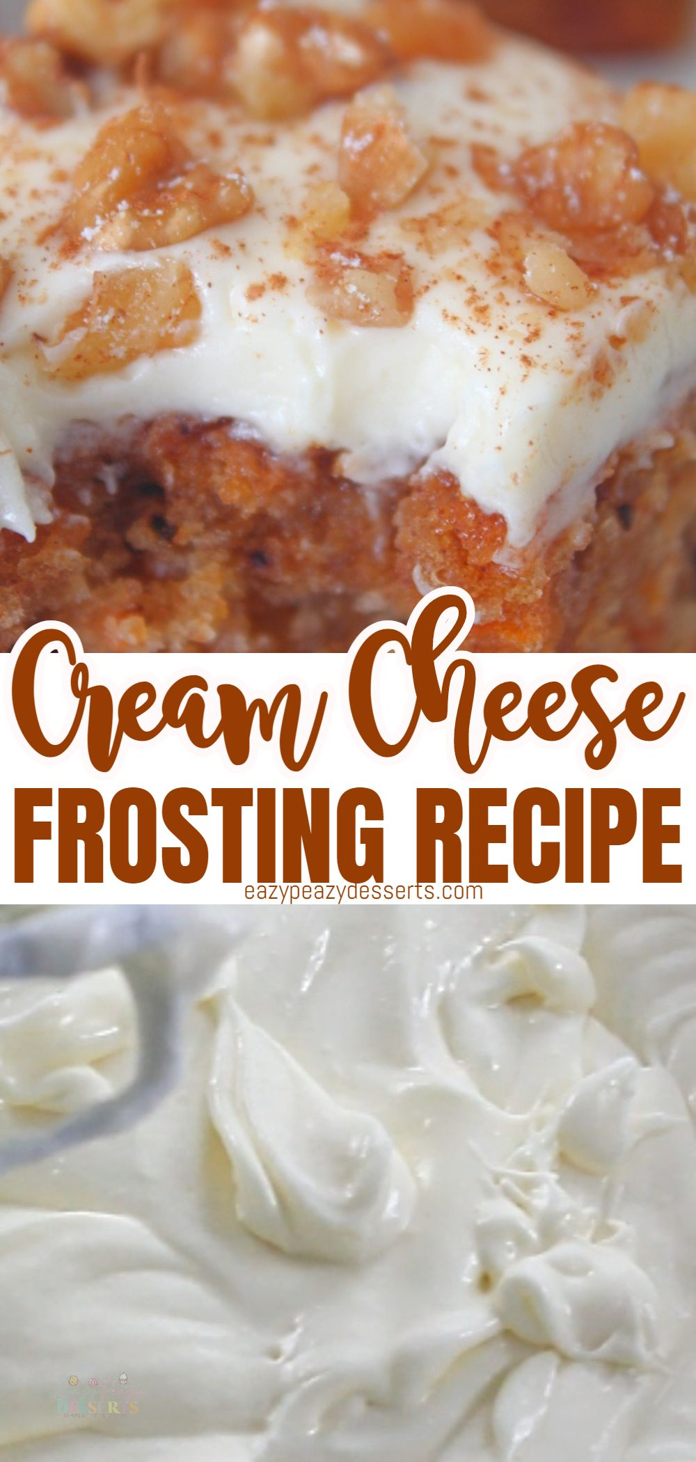 Frosted cakes are a thing, and any cake will become a lot more special with a delicious icing. Don't be intimidated by making it yourself, homemade cream cheese frosting is quite easy! Today I'm going to show you the super-easy way of making a delicious simple cream cheese frosting for all your cakes, cookies and cupcakes. via @eazypeazydesserts