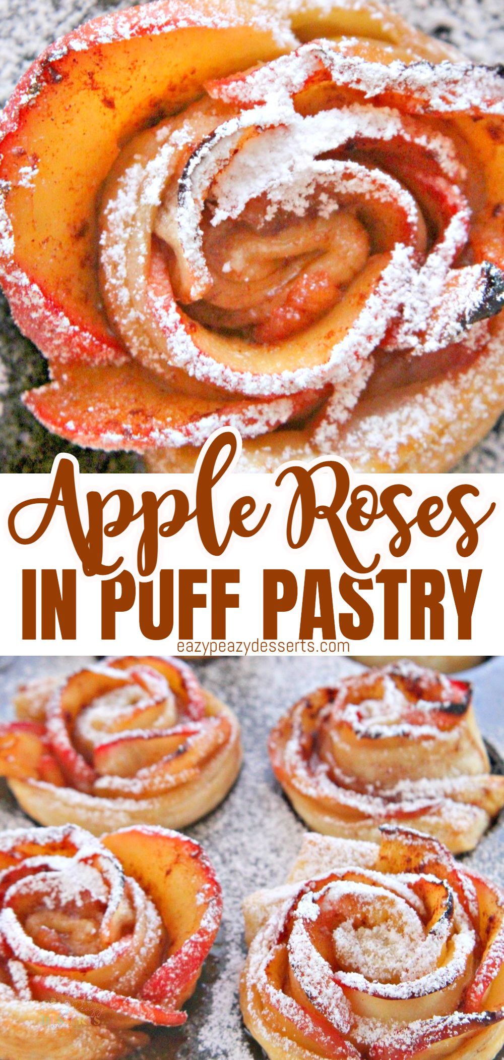 This apple roses pastry is the perfect blend of deliciousness, and the appearance of these delightful puff pastry roses is a true luxury for any party with friends or co-workers. The rose even makes them a very romantic dessert for a date night! via @eazypeazydesserts