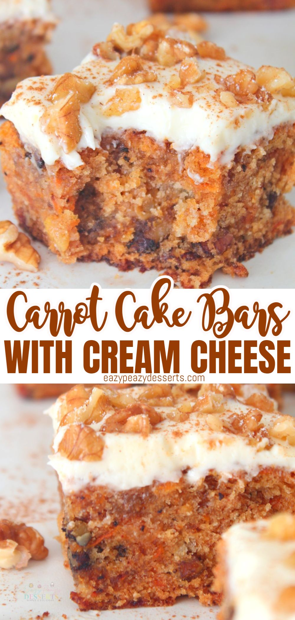 The next time you have a craving for carrot cake but don't want to put in the time of making a full cake, try these easy carrot cake bars instead. via @eazypeazydesserts