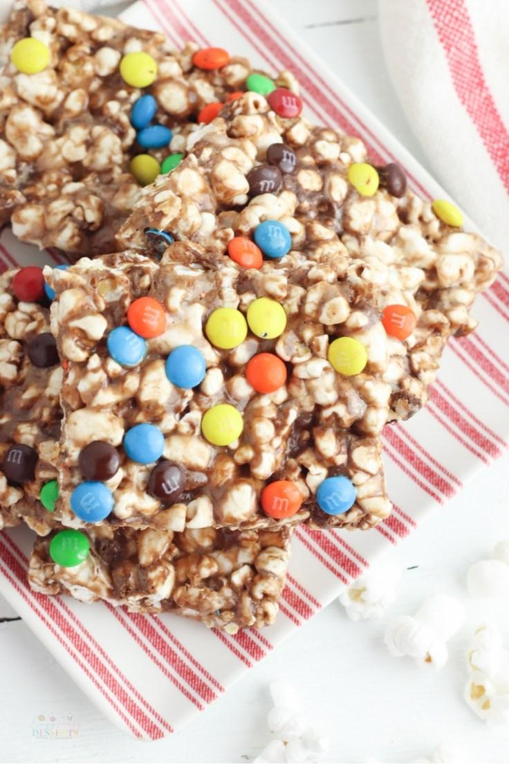 Marshmallow chocolate popcorn bars
