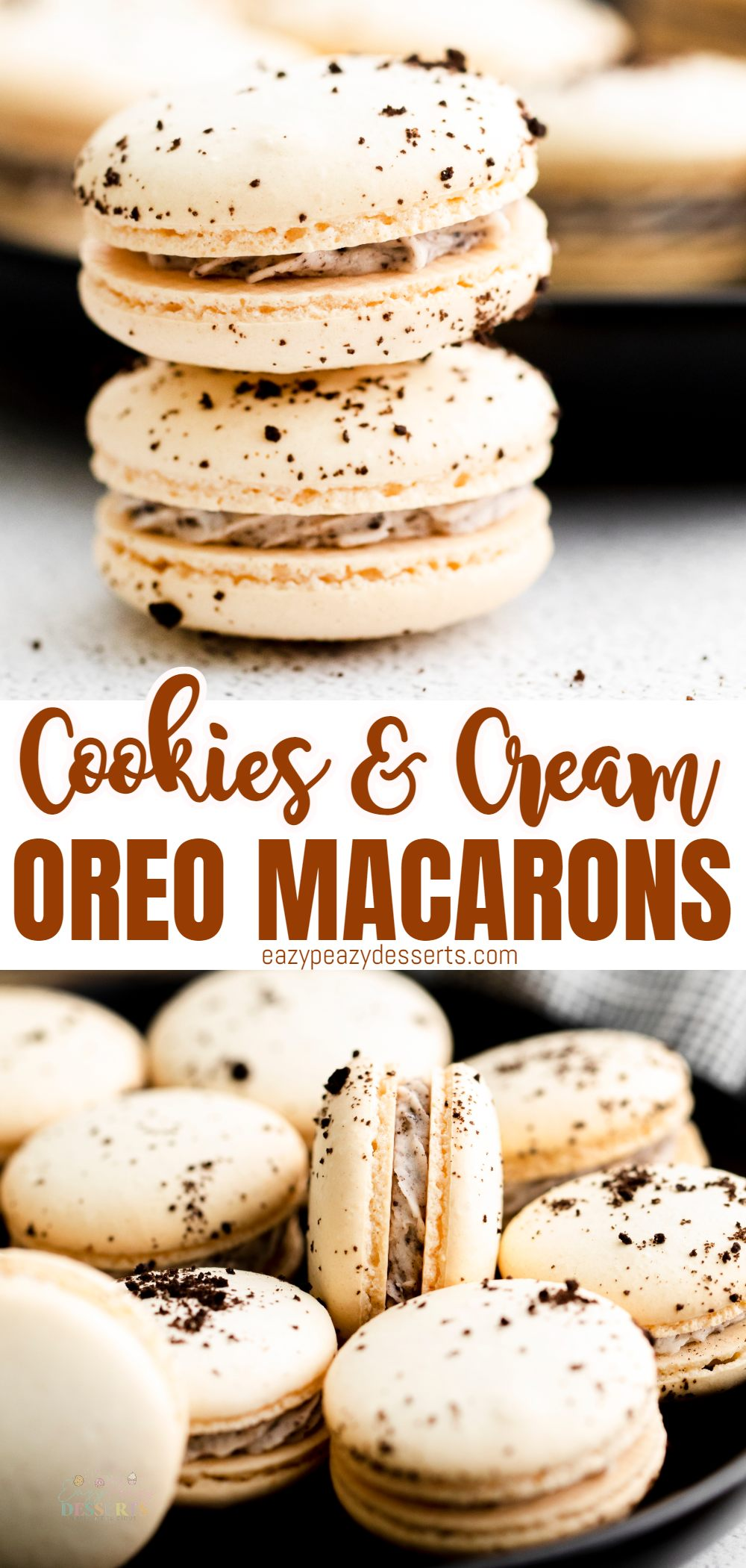 Looking for a special dessert idea? These delicate French Oreo macarons are going to be your new favorite way to enjoy an Oreo cookie! via @eazypeazydesserts