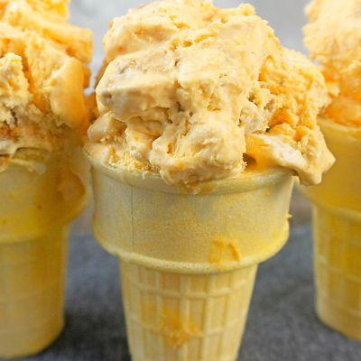 No churn PUMPKIN ICE CREAM with gingersnap cookies
