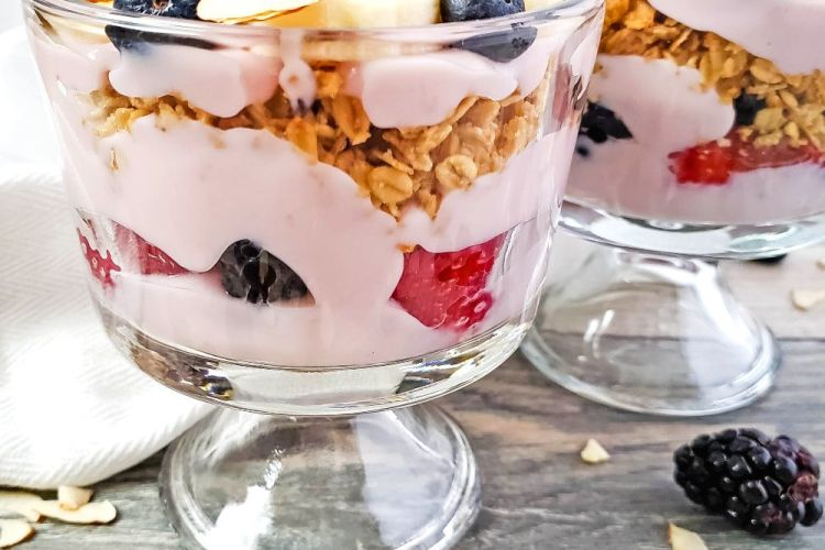 Close up image of berry trifle in cups