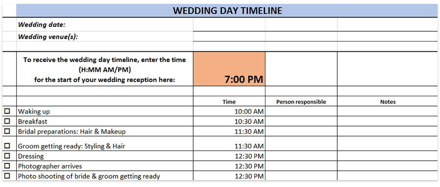Wedding Day Timeline Template Generator Printable Download