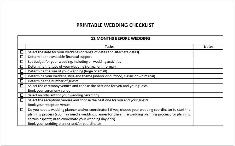 Printable Wedding Checklist Free Download Pdf Excel