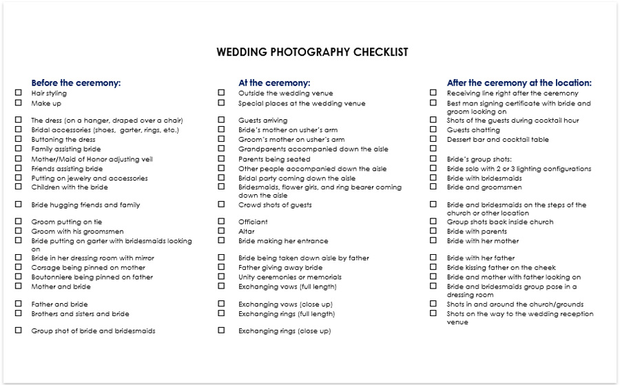 Wedding Photography Checklist Pdf Download: Poses, Shots