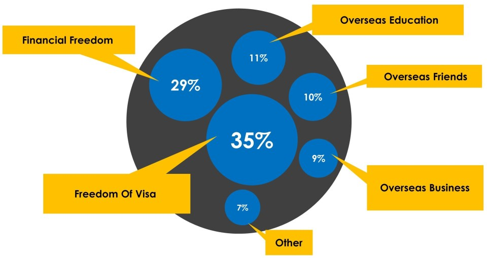 Diagram shows the 6 reasons cited for becoming a global citizen with Freedom of Visa and Financial Freedom the top 2.