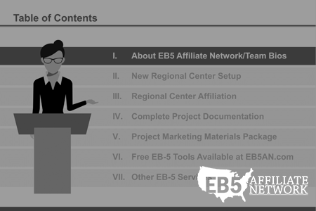 Summary of EB5 Affiliate Network services including complete EB-5 project documentation and EB-5 regional center rental.