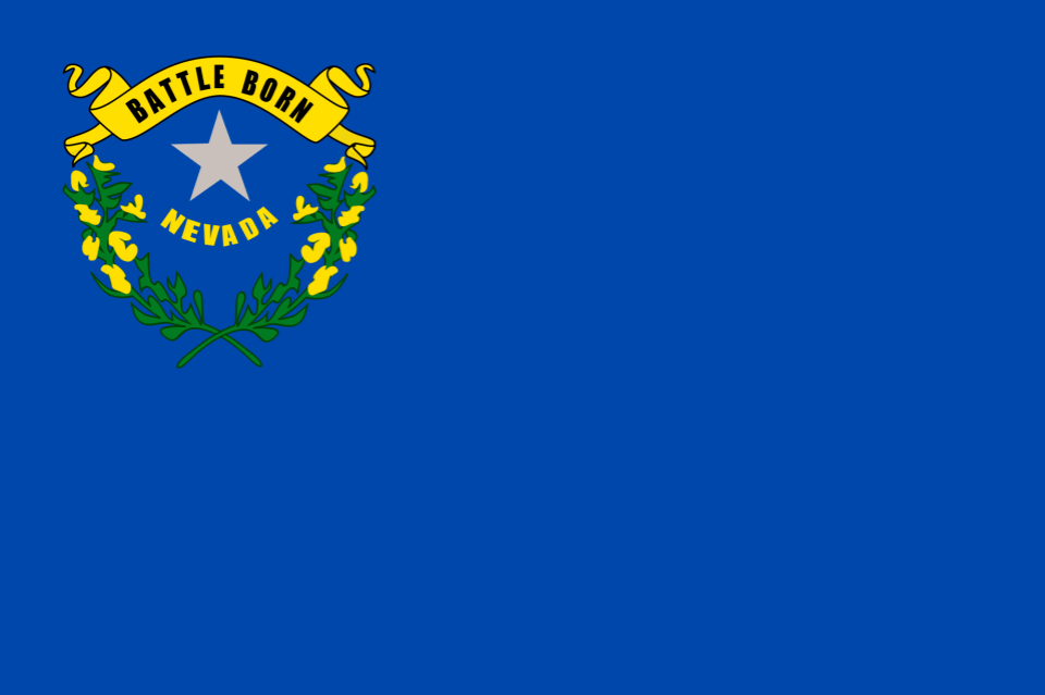 Nevada state flag with canton containing 2 branches encircling a star with words, Nevada and Battle Born, on blue field.