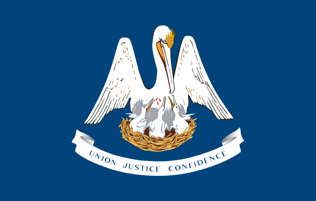 Louisiana state flag with pelican feeding her young and banner with motto; Union, Justice, and Confidence; on blue field.