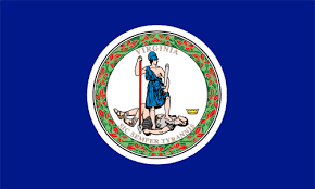 Virginia state seal with the Roman goddess of virtue; the word, Virginia; and the motto, Sic Semper Tyrannis.