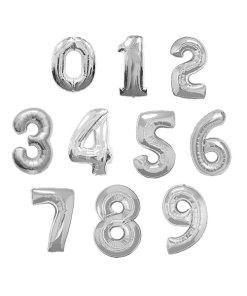 baloane folie cifre argintiu