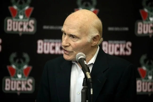 Sep 30, 2013; St. Francis, WI, USA; Milwaukee Bucks owner Herb Kohl speaks with the media at Milwaukee Bucks Training Center. Mandatory Credit: Mary Langenfeld-USA TODAY Sports