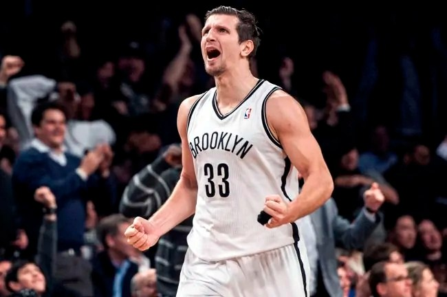 Brooklyn Nets vs Atlanta Hawks at Barclays Center:  Brooklyn Nets power forward Mirza Teletovic (33) celebrates after a three pointer during the fourth quarter. January 6th, 2014. Credit Anthony J. Causi