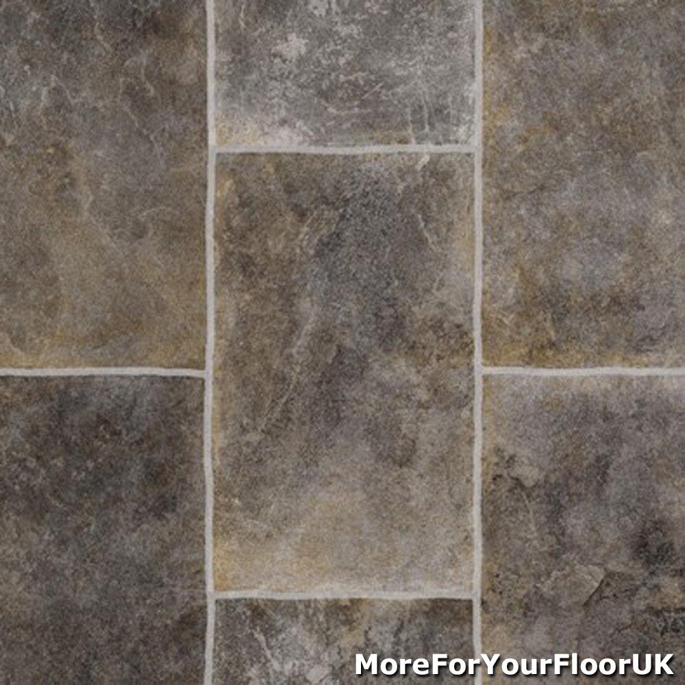details about grey rectangle tile vinyl flooring slip resistant lino 4m cushion floor