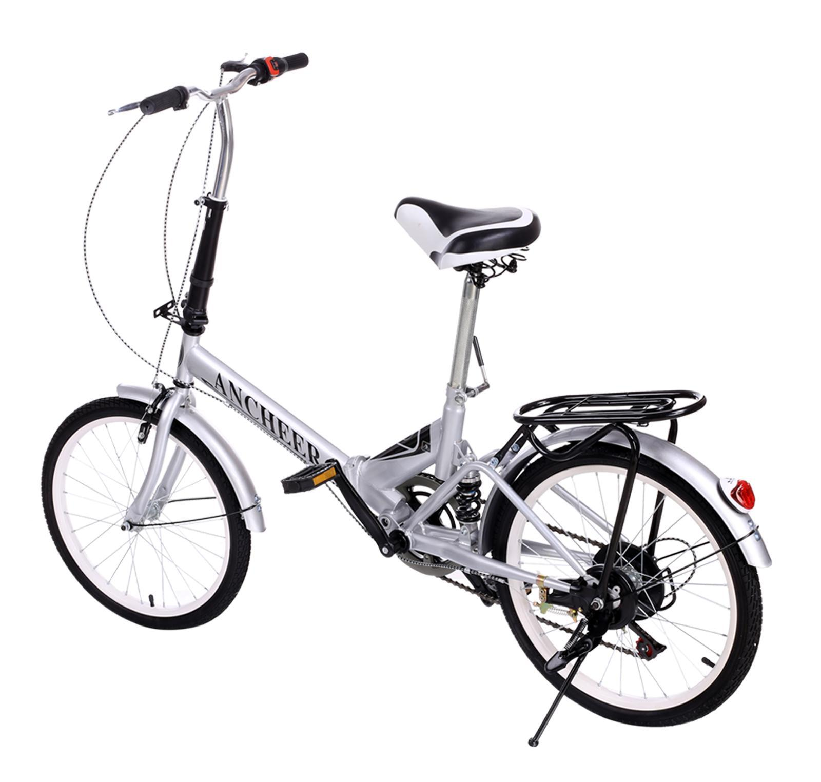 Silver 20 Inch Bicycle 6 Speed Foldable Folding Bike