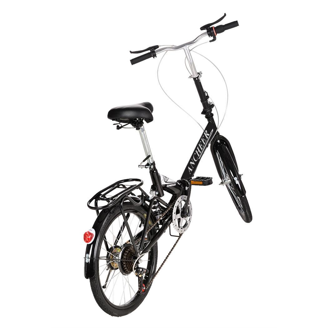 20 Folding 6 Speed Mountain Bike Bicycle Black Cycle
