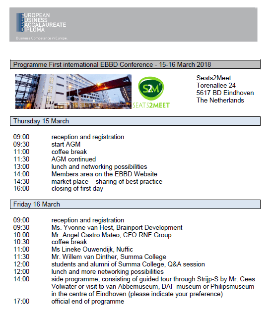 first EBBD conference in Eindhoven - conference programme