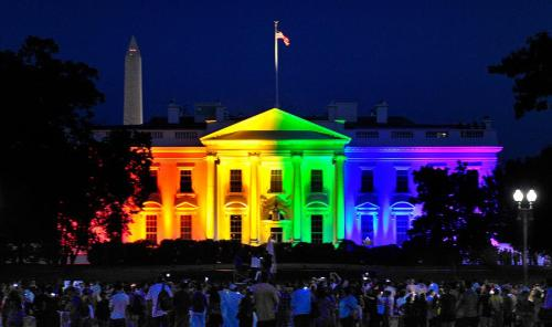 Rainbow-lighted White House