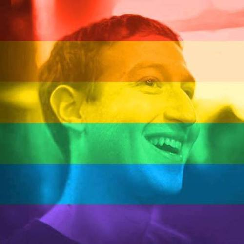Rainbow Overlaid Facebook Profile Photo - Mark Zuckerberg