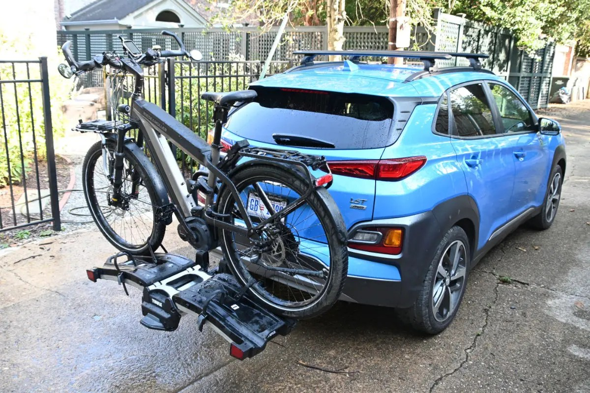 Thule Easyfold XT2 carrying a Riese & Muller Supercharger with dual battery - 64 lbs.