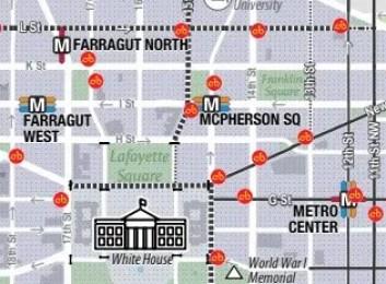 A detailed view of the Wshingon DC city biking map ebike lovers