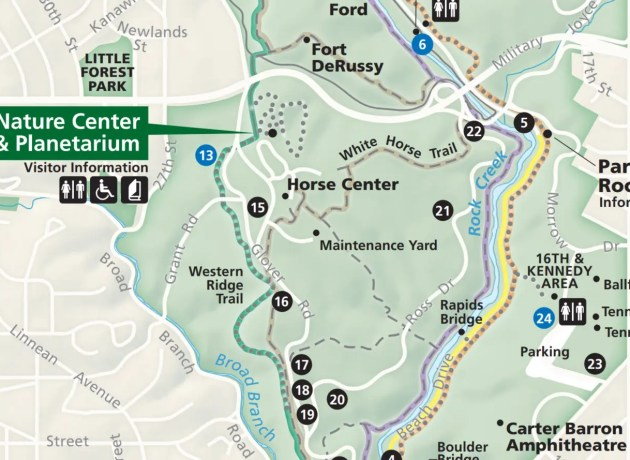 A Rock Creek Park map produced by the National Park Service.
