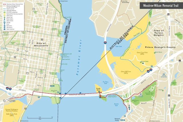 A map of the the Woodrow Wilson Memorial Bridge with boundaries of Washington DC, Maryland and Virginia