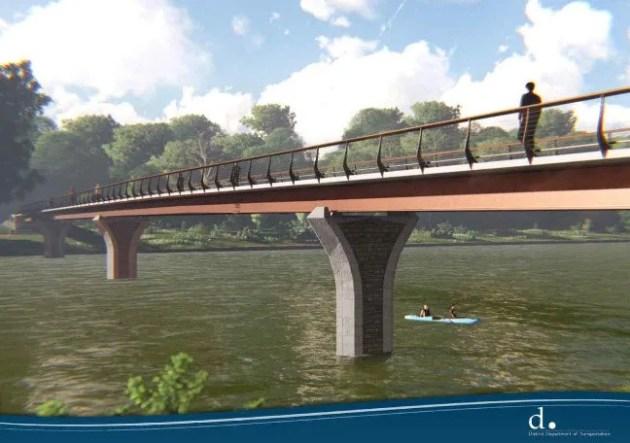 An artistic rendering of the proposed Arboretum Bridge.
