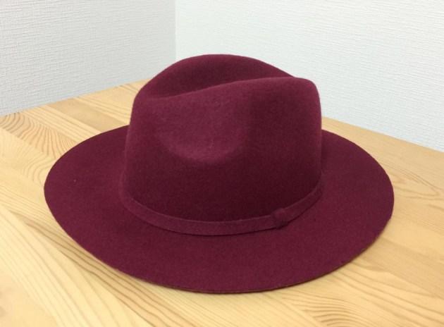 中折れフェルト帽(ボルドー)