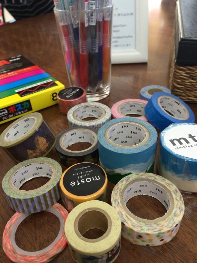 色ペン、マスキングテープ
